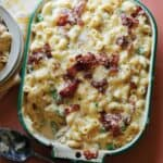 Baked Carbonara Mac and cheese with bacon and peas.