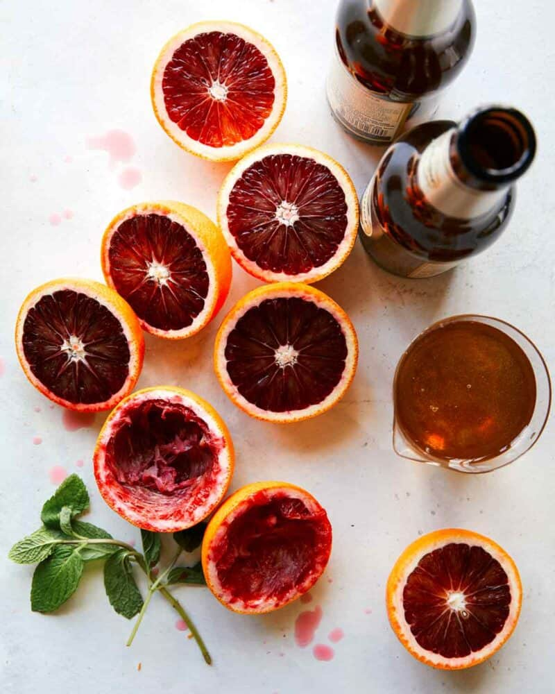 Ingredients for blood orange shandy.