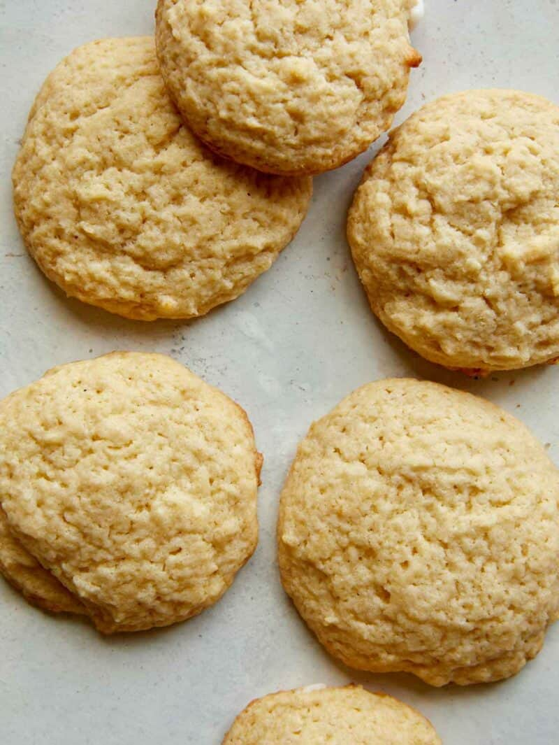 A close up of unfrosted cookies.