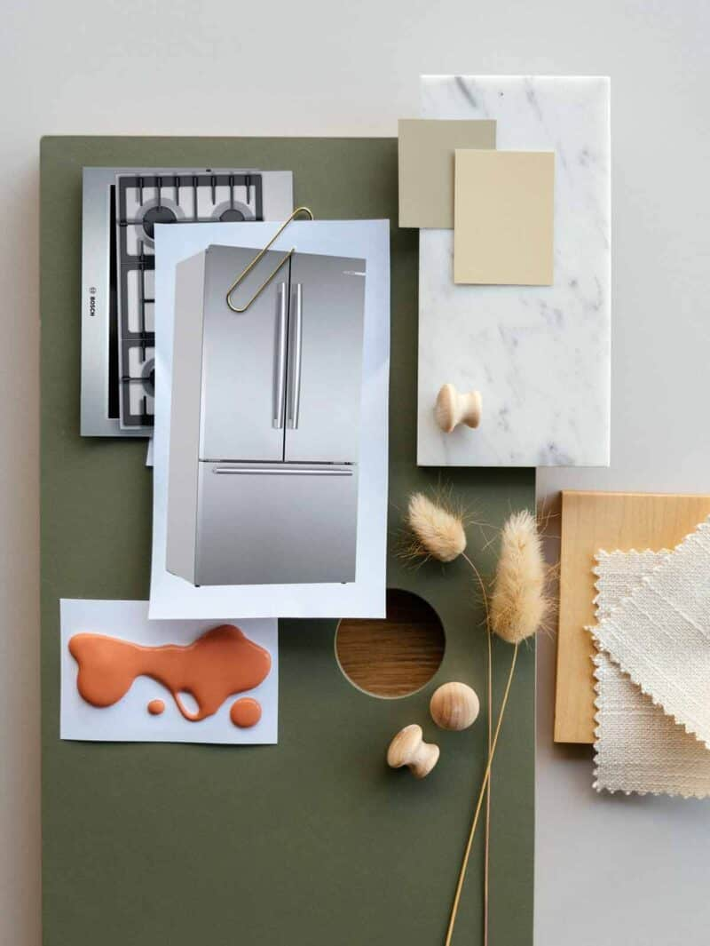 Kitchen mood board with green and neutral colors with texture.