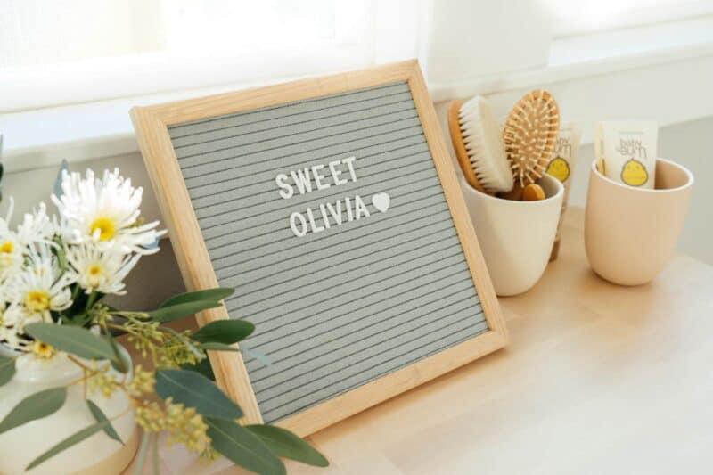 "Felt letter board spells out \""Sweet Olivia\"""
