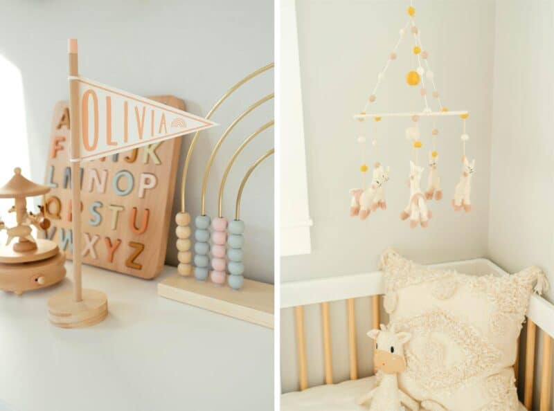 Wooden baby toys and mobile over crib.