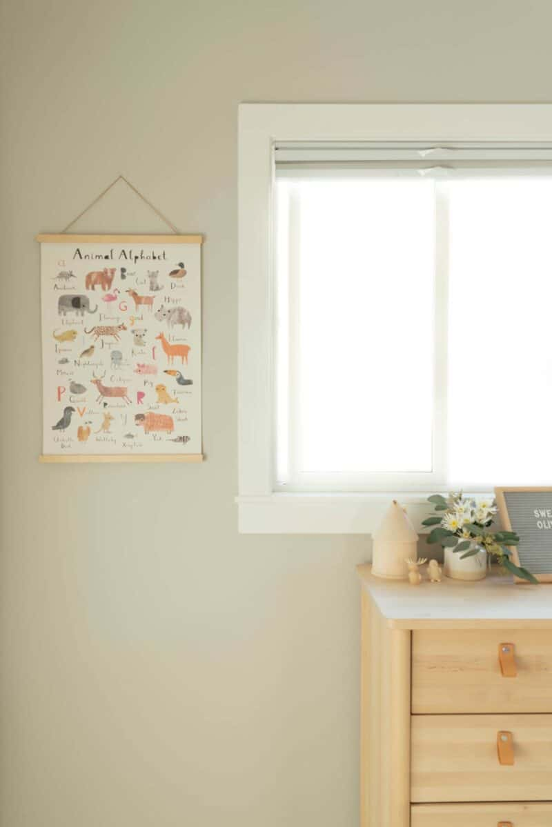 Wall decor, window, and top of dresser in nursery.