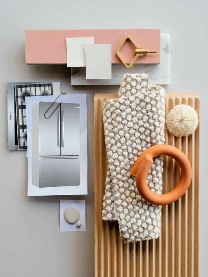Kitchen mood board with tan neutral colors and texture.