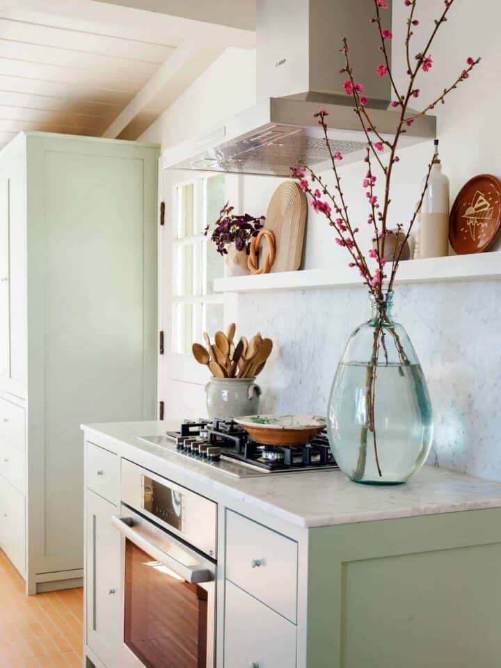 Bosch Stove top oven with wooden spoons and vase on the counters with shelving above.