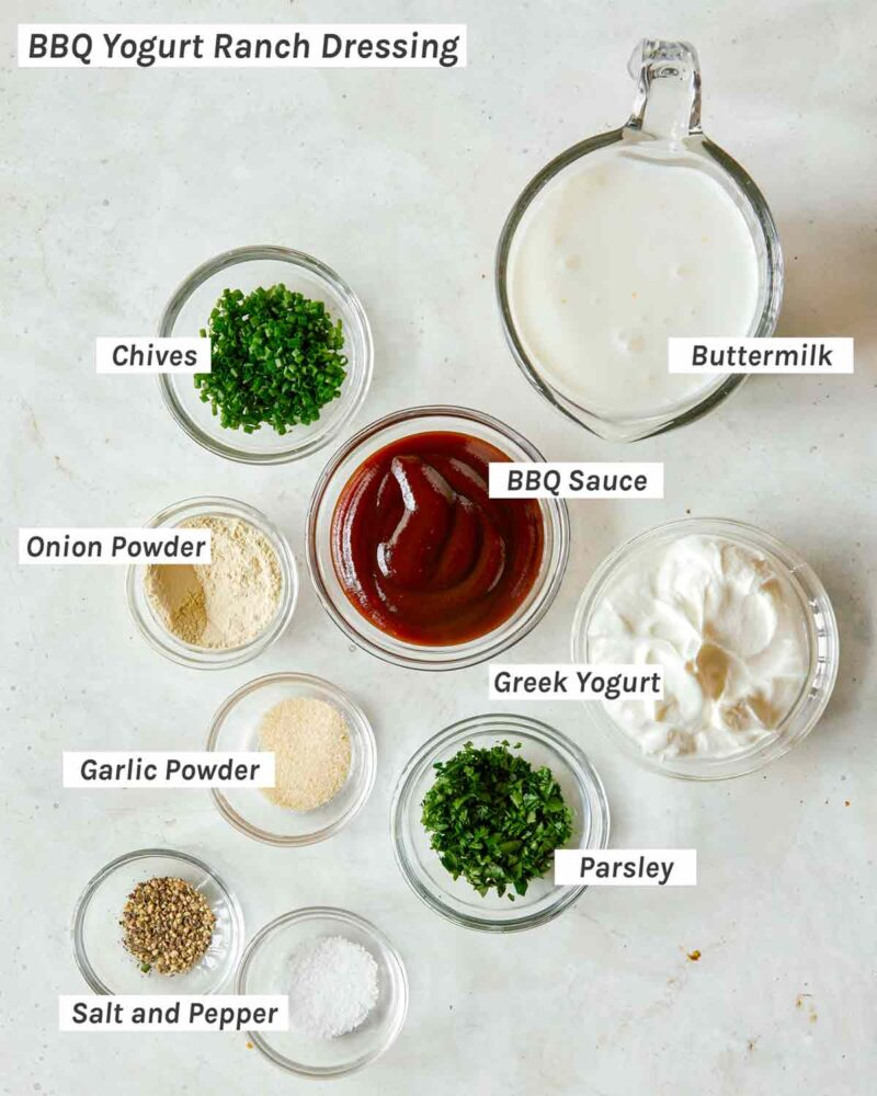 Ingredients for BBQ yogurt ranch dressing.