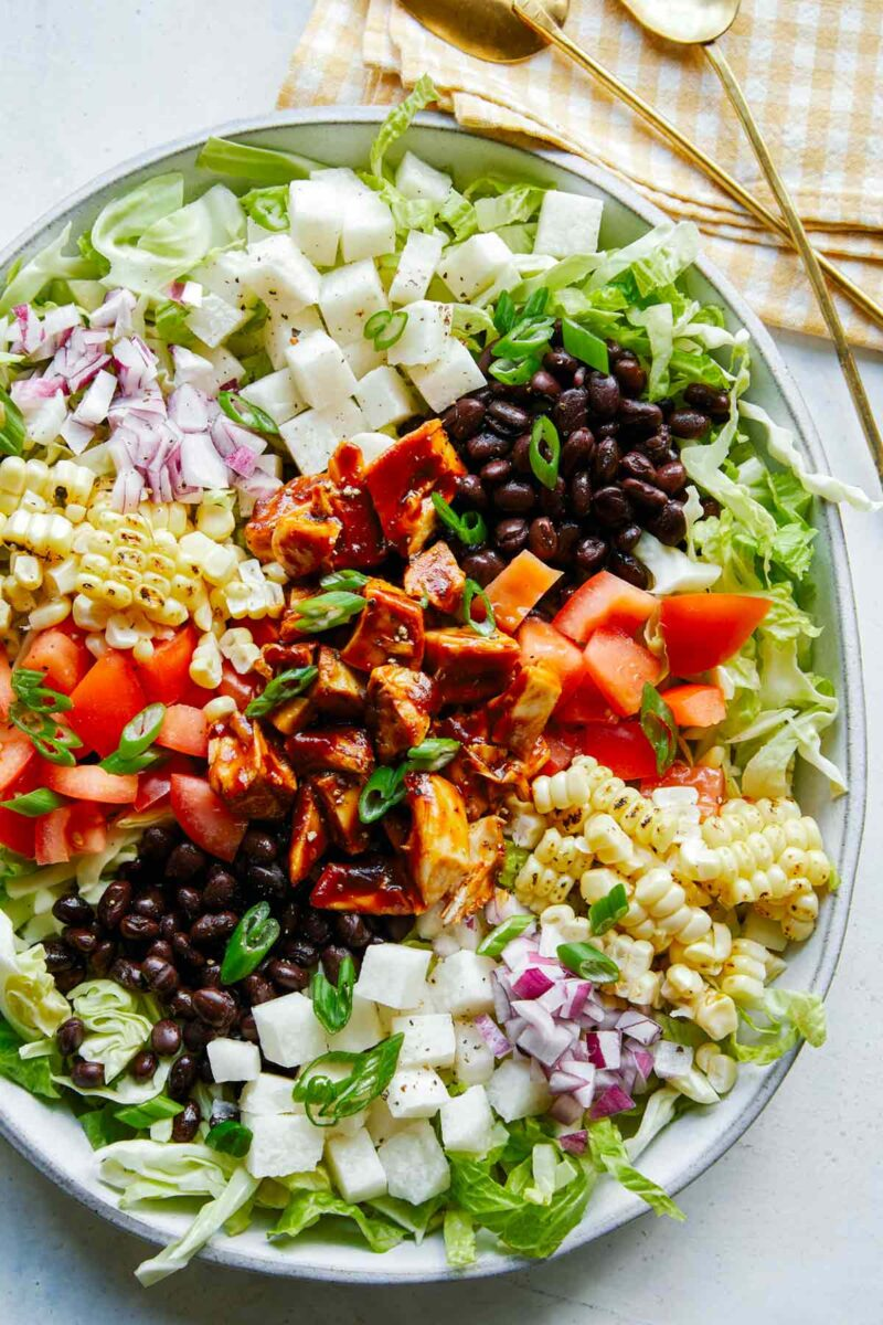 A close up of our BBQ Chicken Salad recipe in a bowl