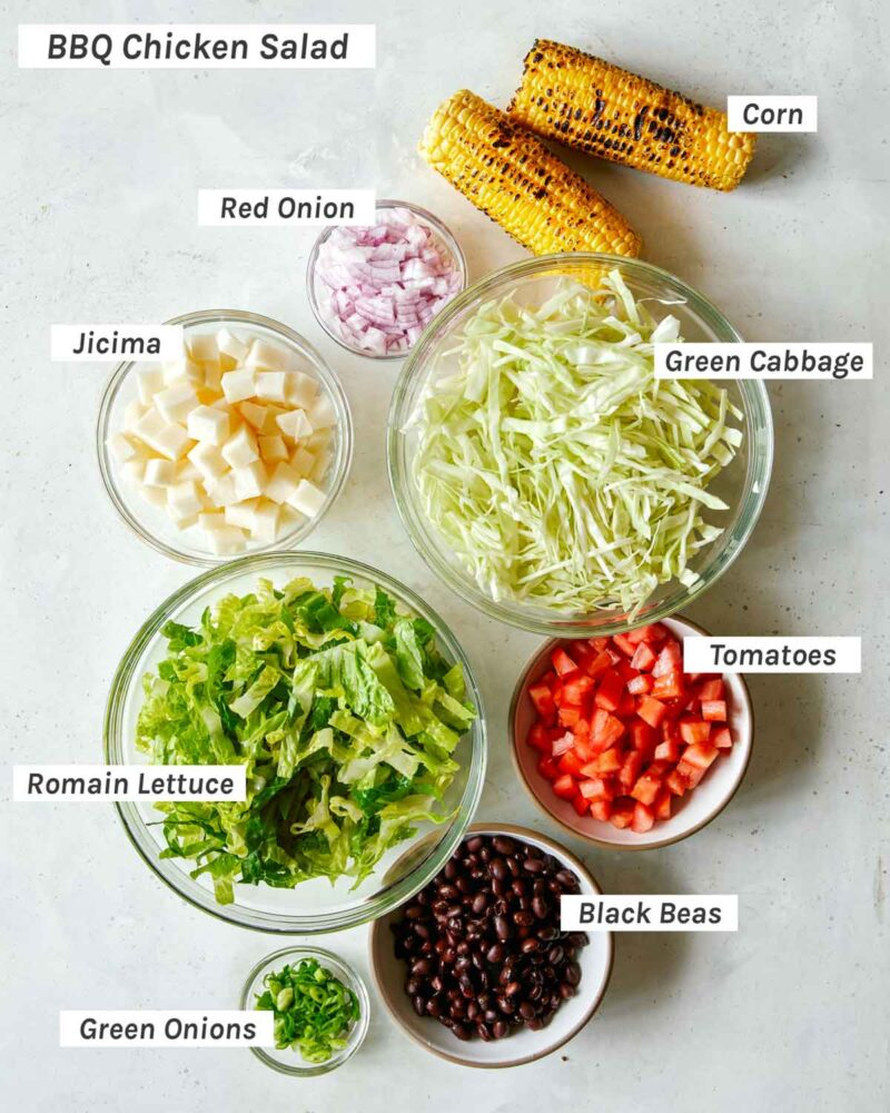 Salad ingredients for a BBQ Chicken Salad
