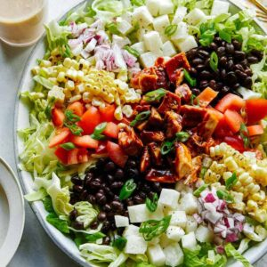 Loaded BBQ chicken salad recipe in a bowl.