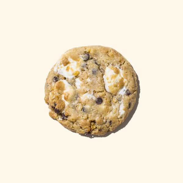 A delicious cornflake, chocolate chip and marshmallow cookie.