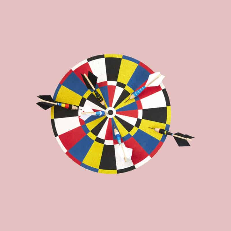 A uniquely colored dart board and dart set for Fathers Day.