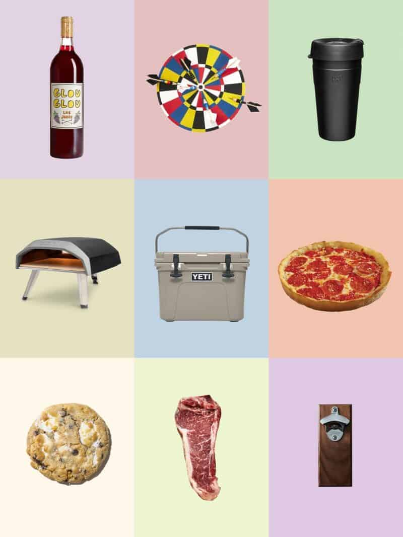 A collage of 9 of our favorite fathers gifts including a pizza oven and wine.