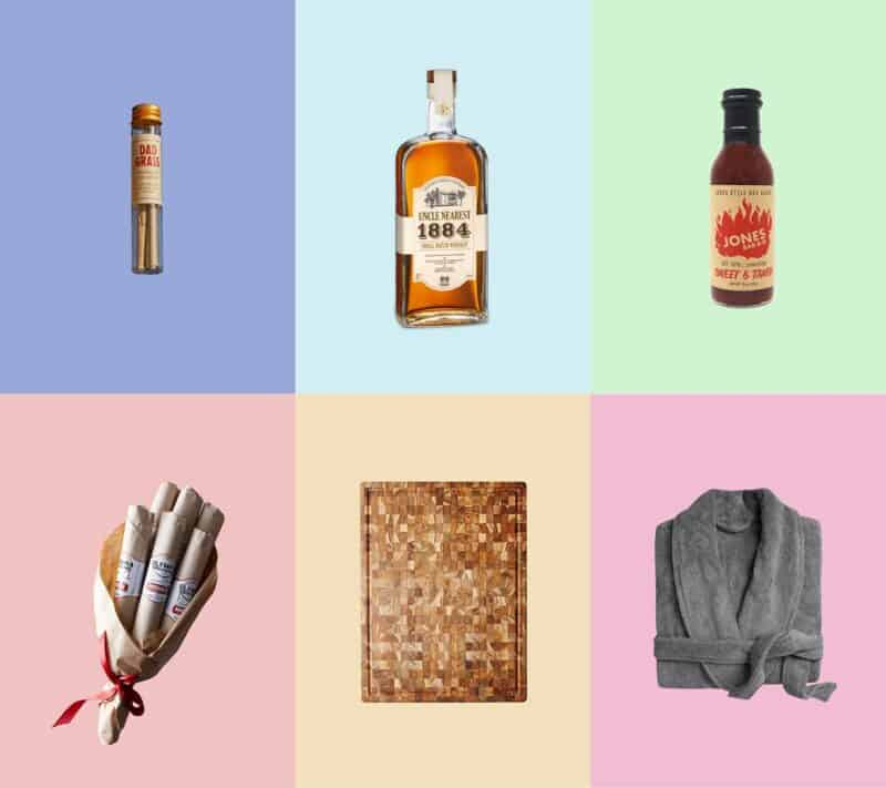 A collage of 6 of our favorite fathers day gfit ideas including a plush robe and a meat bouquet.