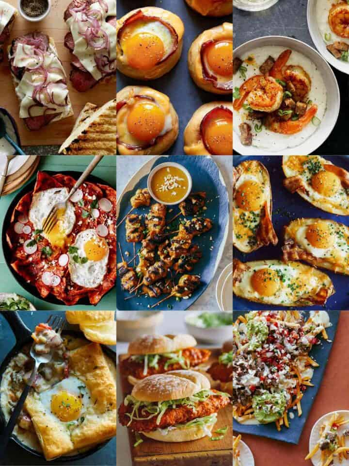 Photo grid of a variety of recipe options for Father's Day.