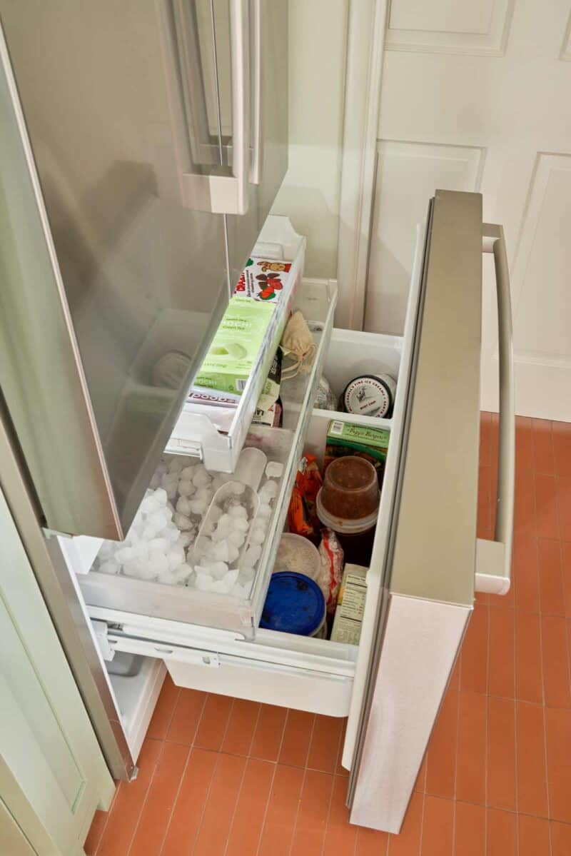 A look inside the lower freezer of a Bosch french door refrigerator