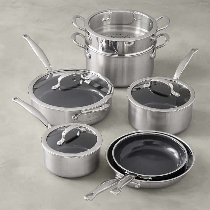 Set of four pots and two frying pans.