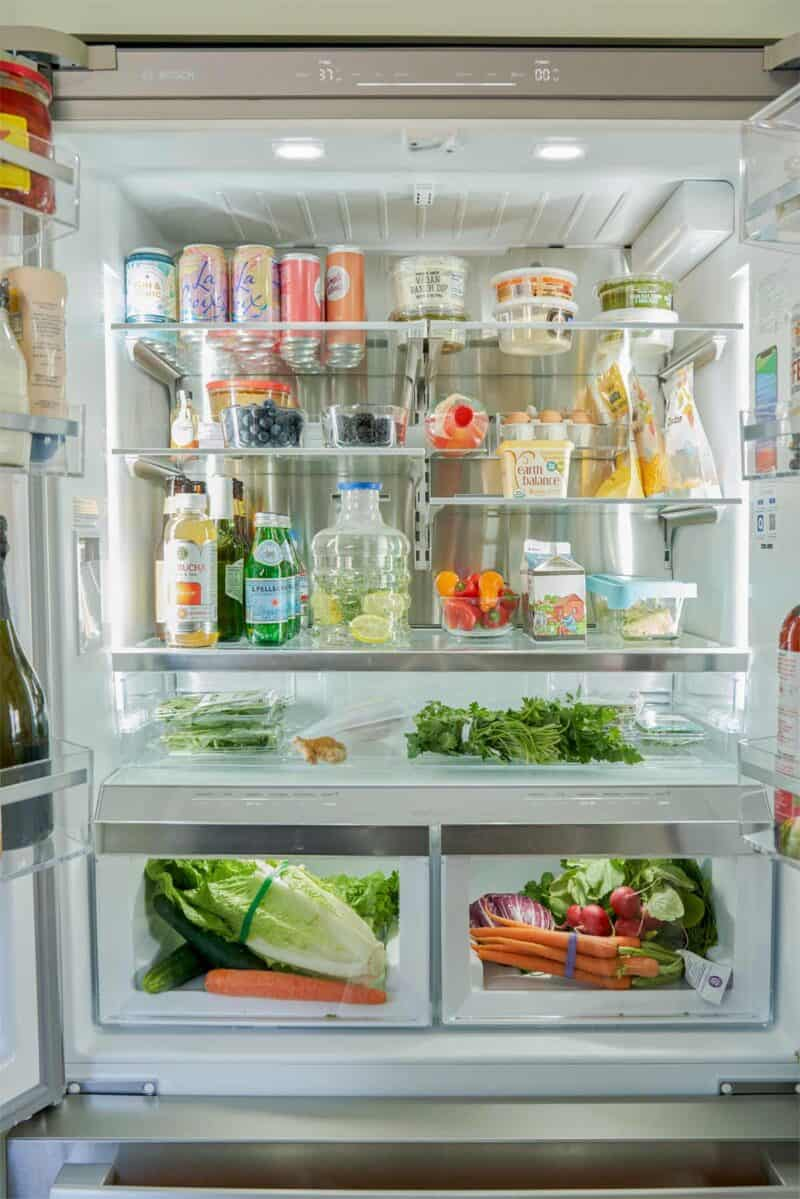 A view of the Bosch french door refrigerator inside.
