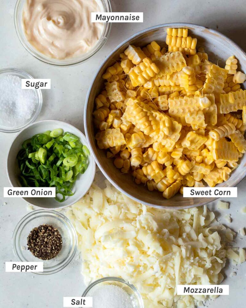 Ingredients for Korean Corn Cheese overhead.