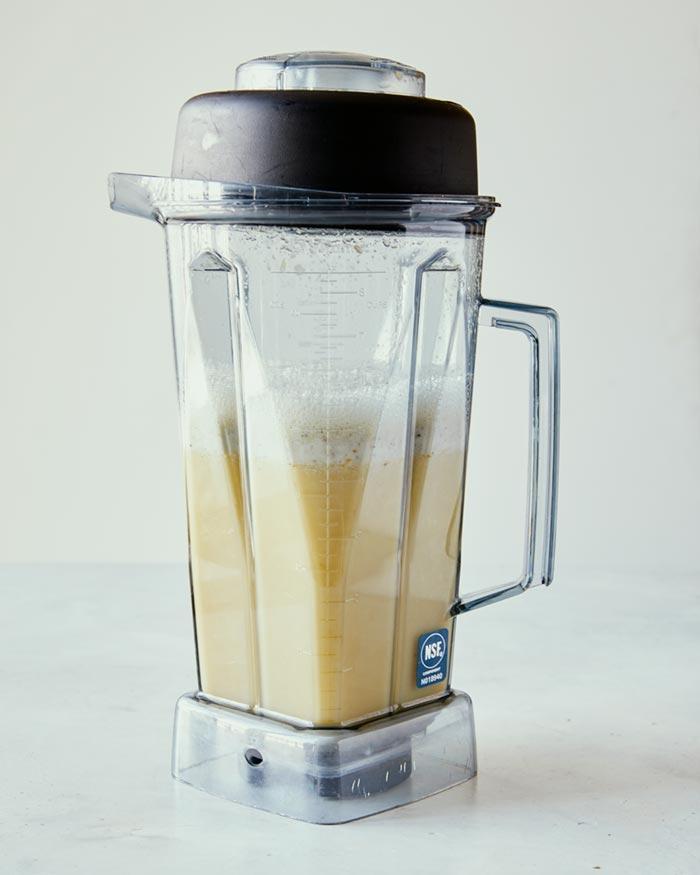 Corn kernels in a blender, blended until smooth.