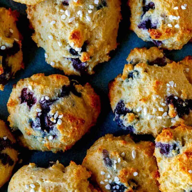 Blueberry Yogurt Cookies close up freshly baked.