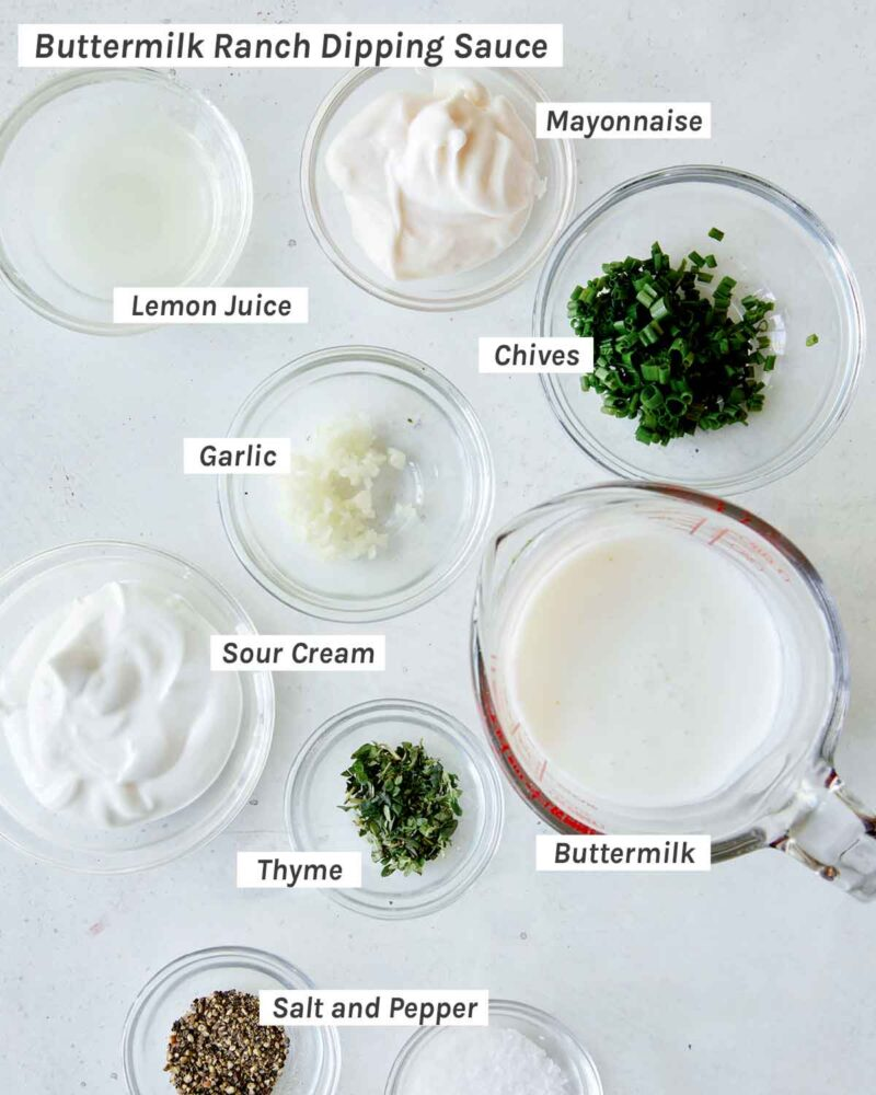 Buttermilk Ranch dipping sauce ingredients shot overhead.