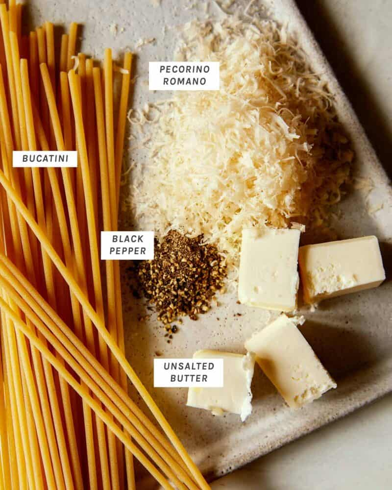 Ingredients for cacio e pepe.