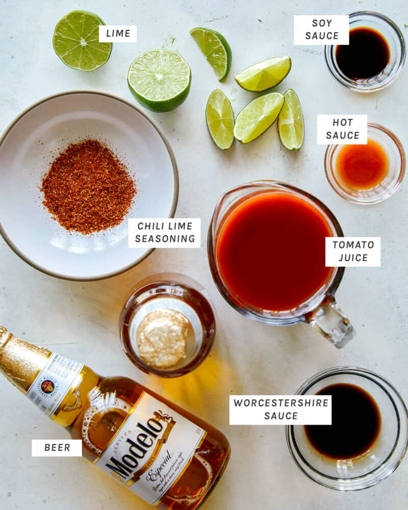 All the ingredients you need to make a Michelada shot overhead.