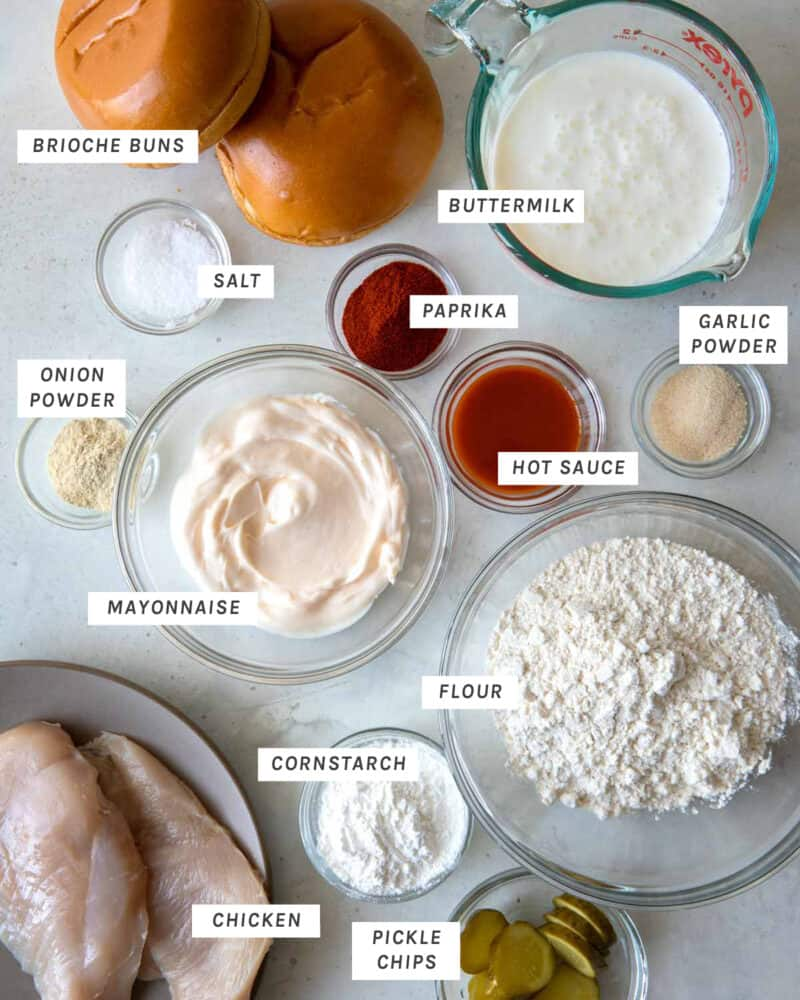 Popeyes Chicken Sandwich recipe ingredients shot overhead.