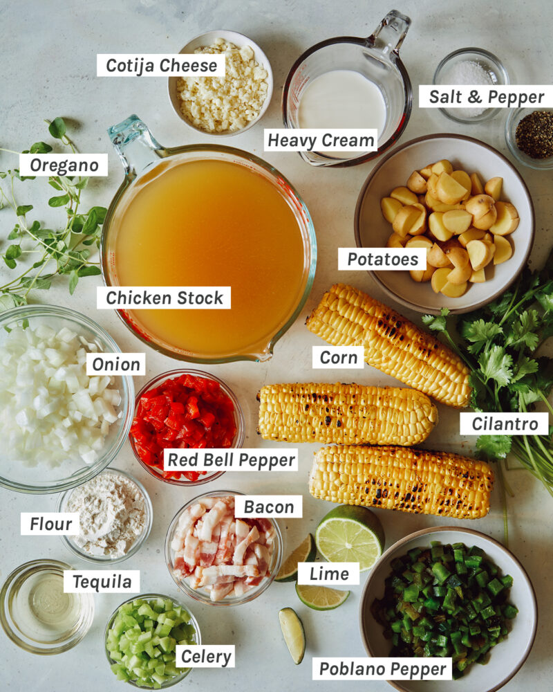 An ingredient shot of all the items needed to make our Roasted Corn Chowder recipe.