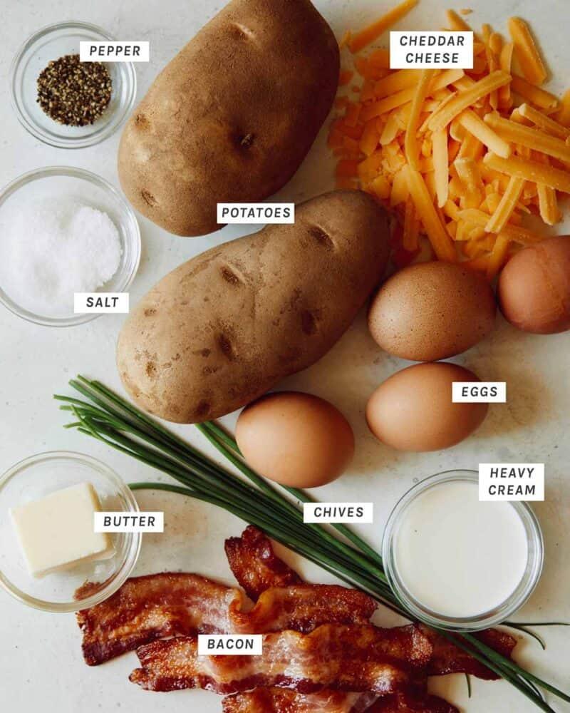 Twice baked breakfast potatoes ingredients shot overhead.