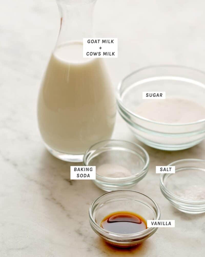 Ingredients to make Cajeta on a kitchen counter.