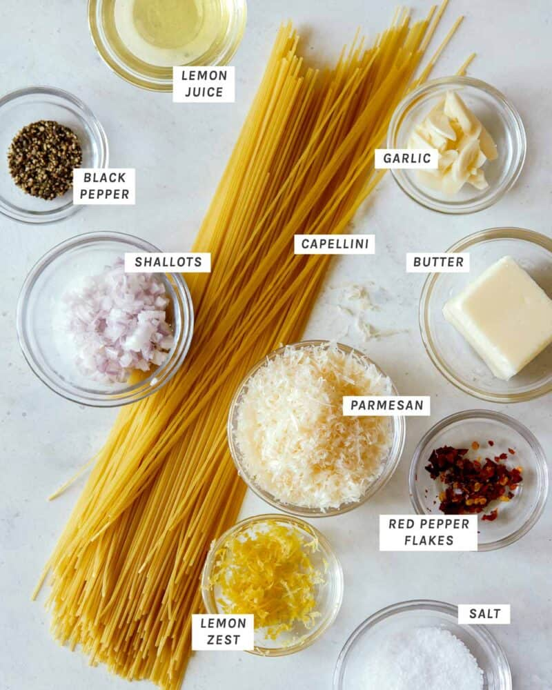 Ingredients shot overhead for our capellini pasta recipe.