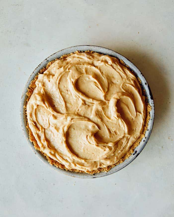 A creamy peanut butter pie with no whipped cream on top.