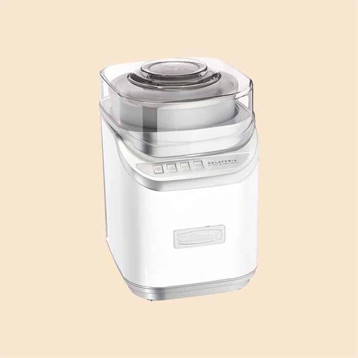 A white cuisinart ice cream maker.