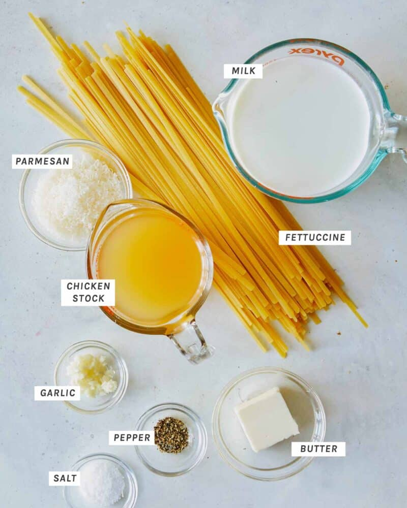 Ingredients in our One Pot Fettuccine Alfredo recipe.