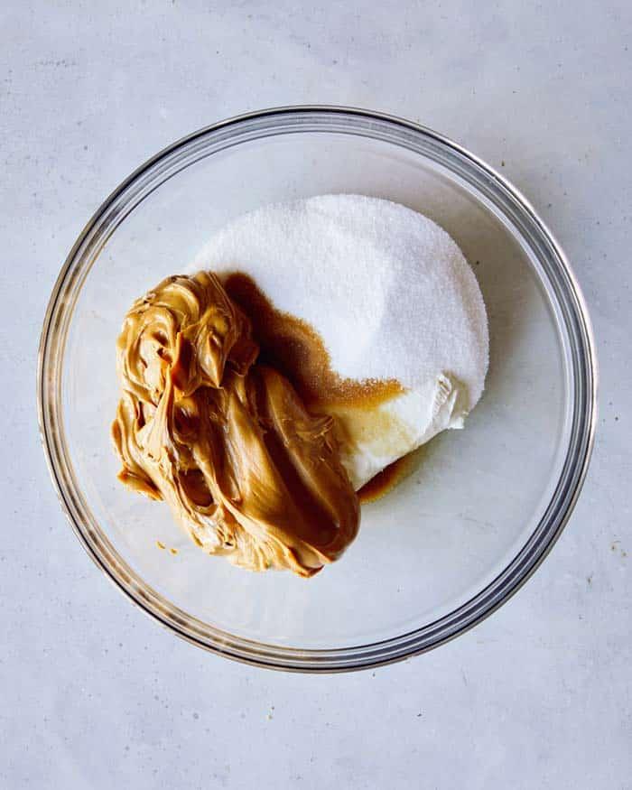 Peanut butter pie filling ingredients in a bowl.