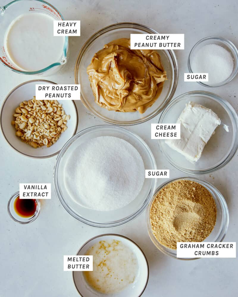 Ingredients to make a No Bake Peanut Butter Pie shot overhead.