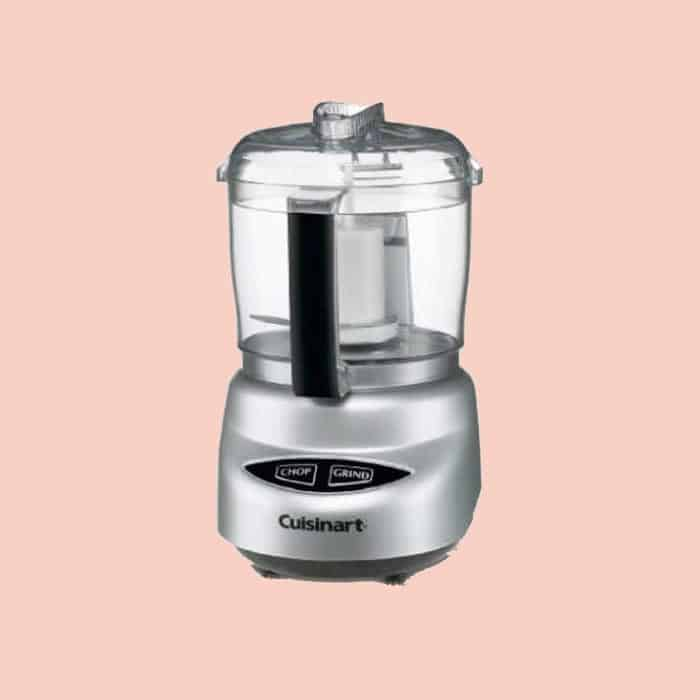 A two cup food processor that is stainless steel.