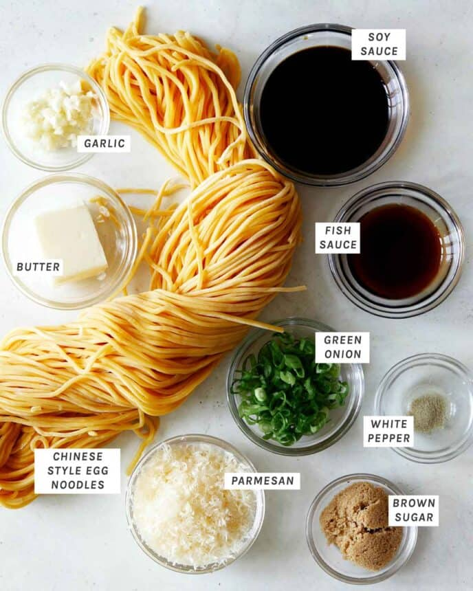 Ingredients for our easy Garlic Noodles recipe overhead.