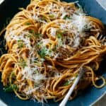 Garlic Noodles recipe in a big bowl with a fork.