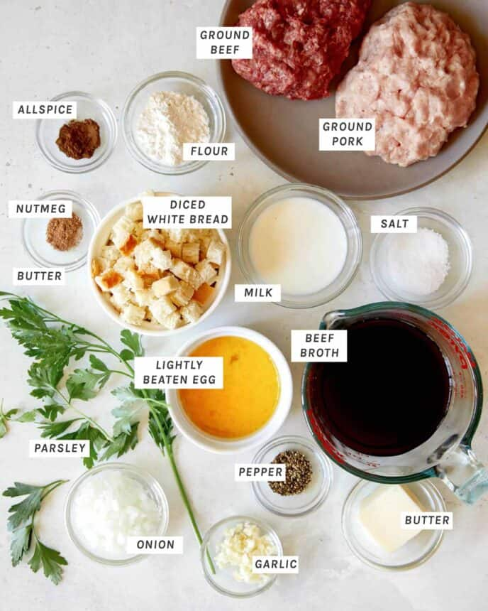 Ingredients for Swedish Meatballs all layed out.