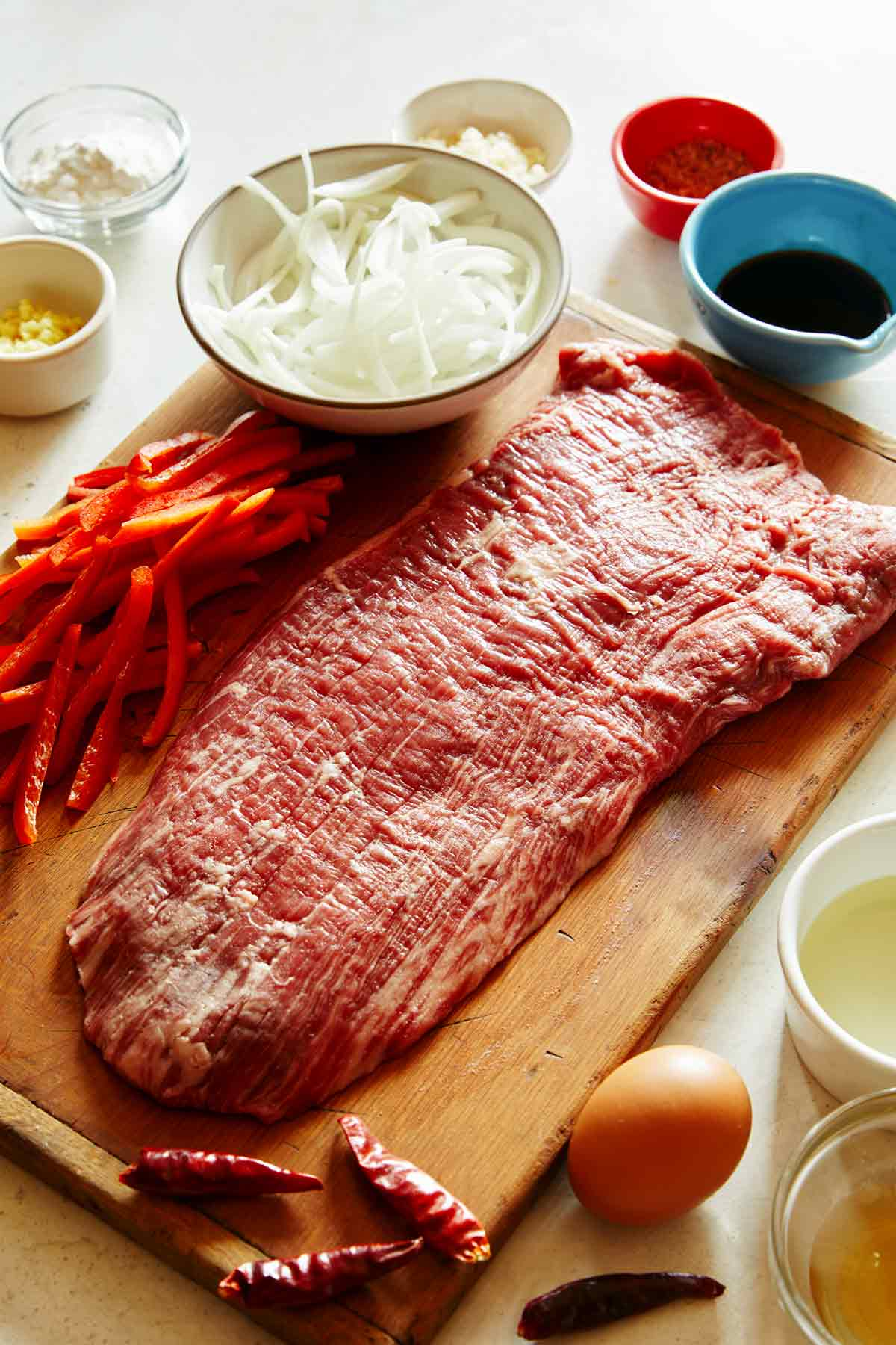 Ingredients to make Szechuan Beef laid out in a kitchen.