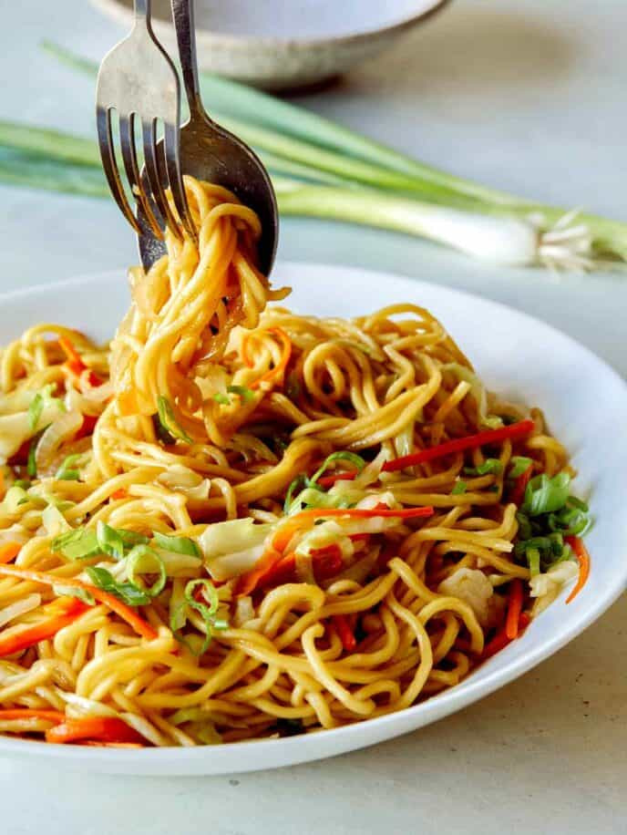 Chow Mein Noodles in a platter being served.