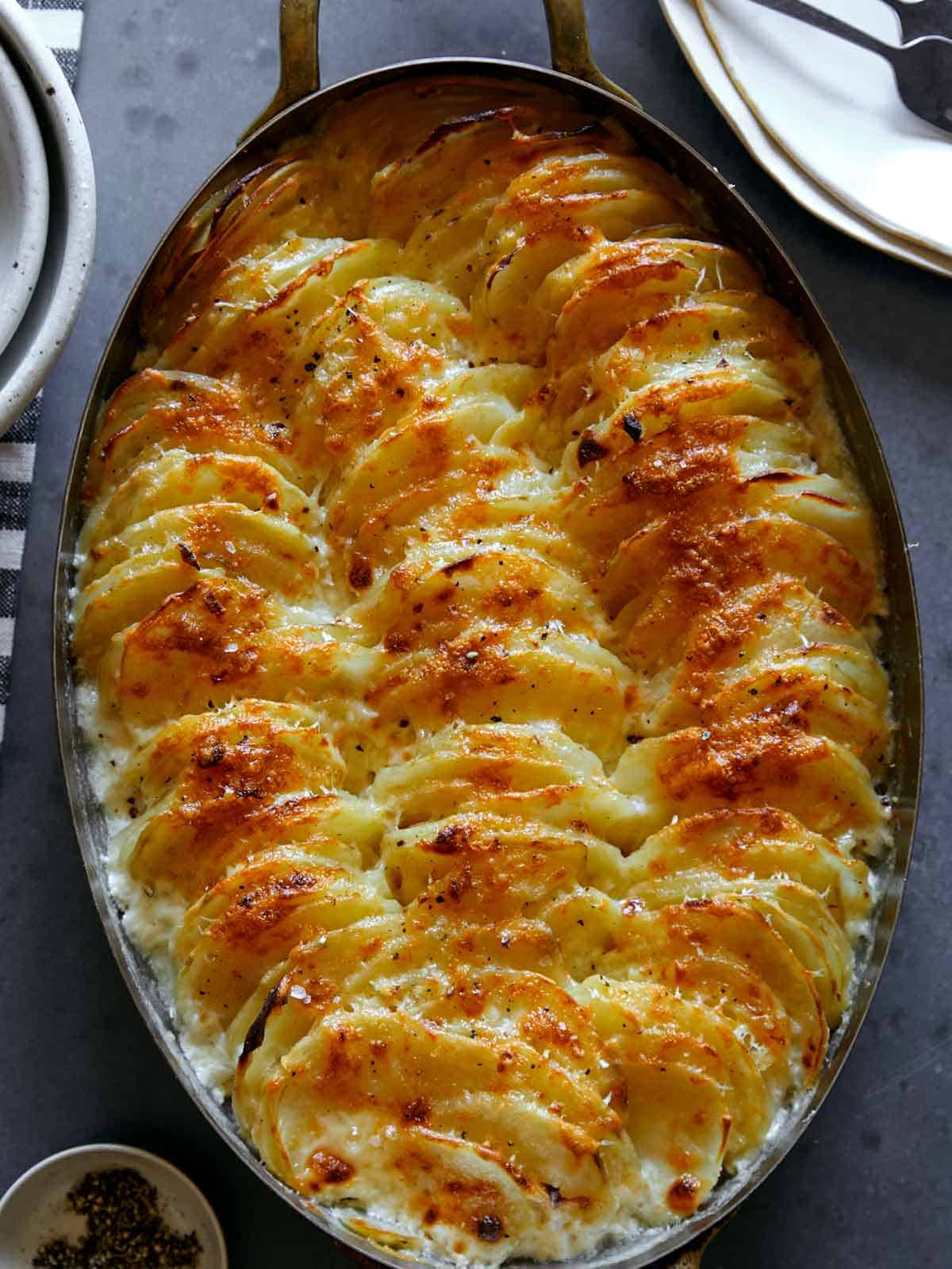 Cheesy Potatoes Gratin Spoon Fork Bacon