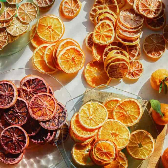 A variety of dehydrated citrus wheels on plates.