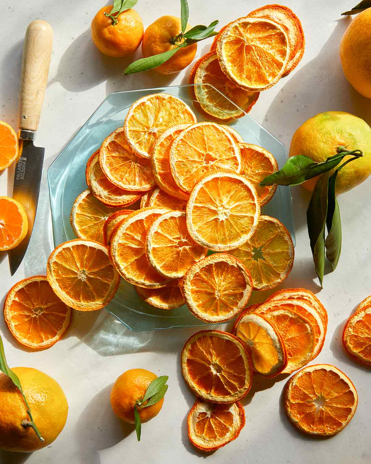 Dehydrated orange slices on a plate with some whole oranges next to it.