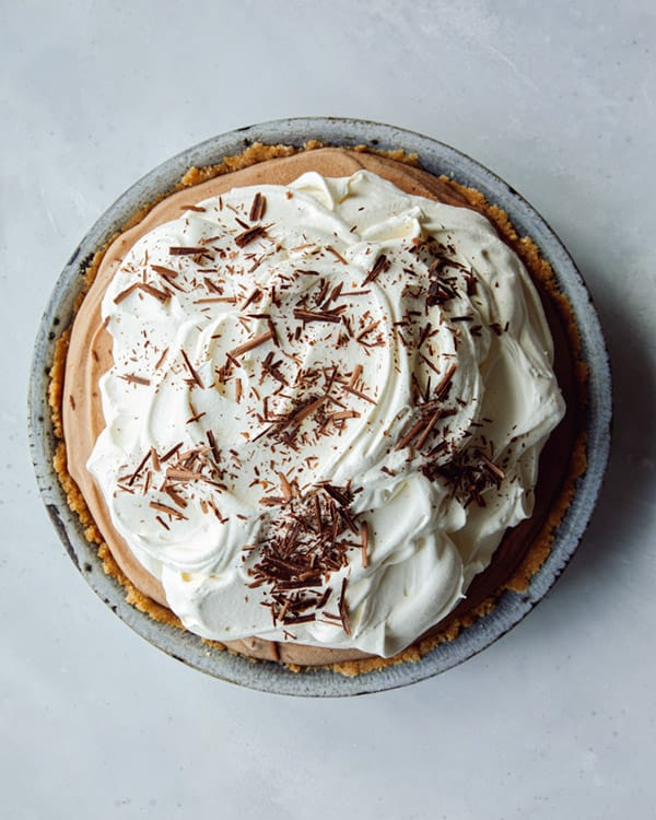 French silk pie on a kitchen counter.