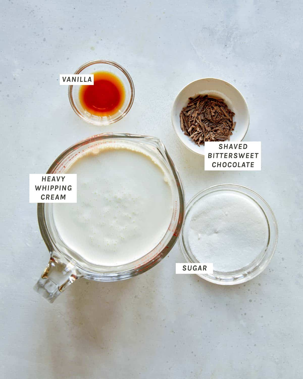 Ingredients to make french silk pie topping.