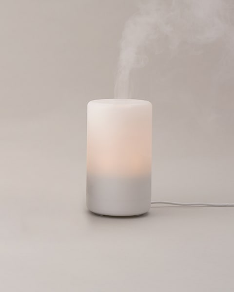 A diffuser blowing steam into the air on a gray  background.