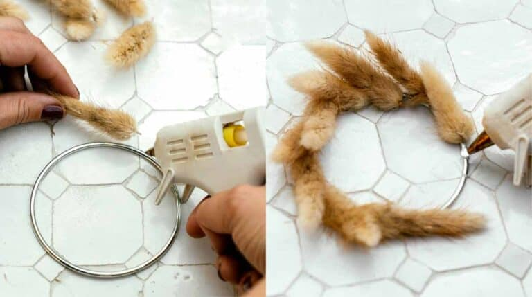 The process of gluing bunny tails on a metal ring.